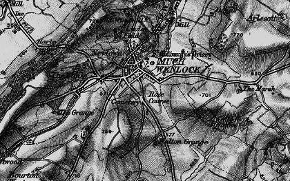 Old map of Much Wenlock in 1899