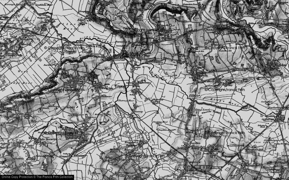 Old Map of Muchelney, 1898 in 1898