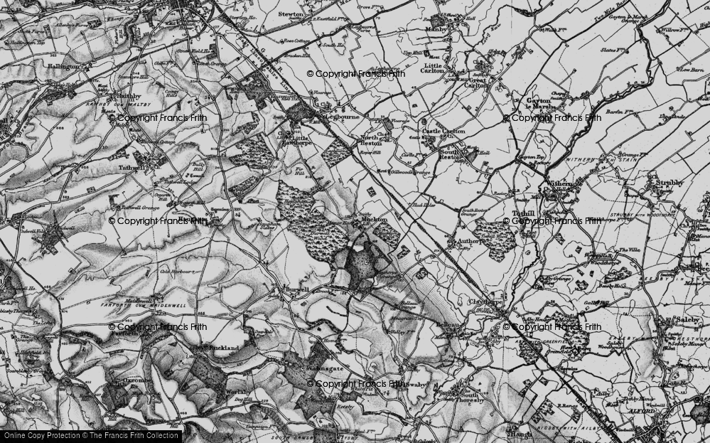Old Map of Historic Map covering Authorpe Grange in 1899