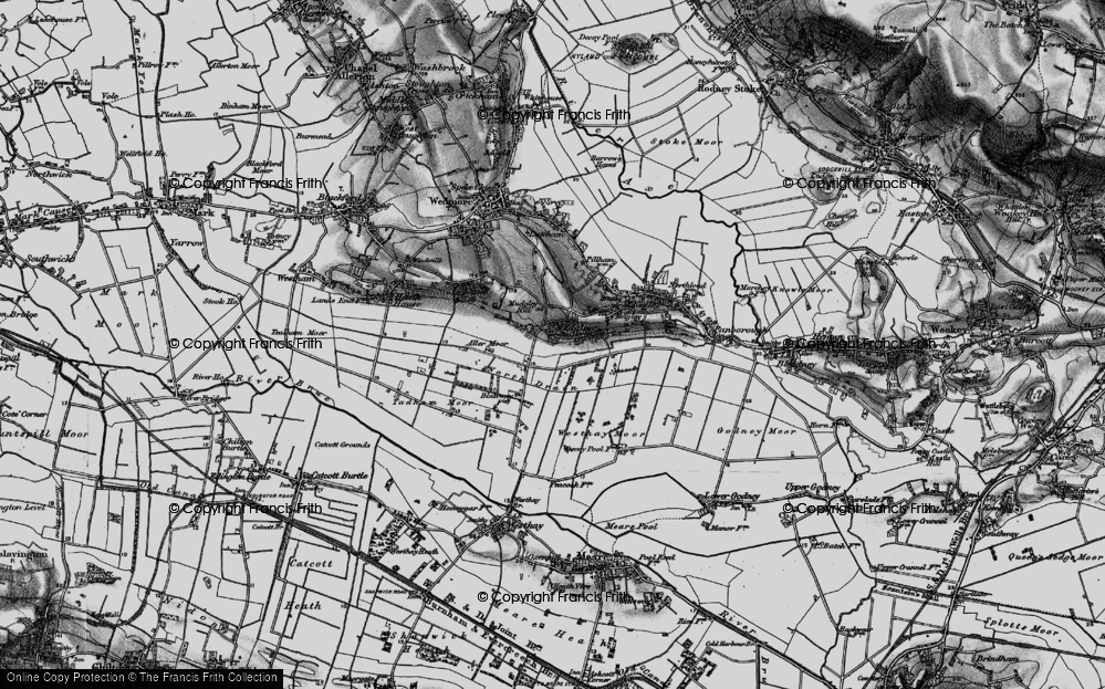 Old Map of Mudgley, 1898 in 1898