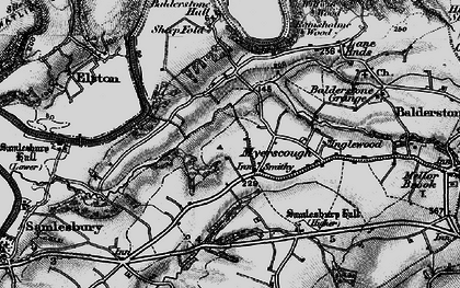 Old map of Balderstone Hall in 1896