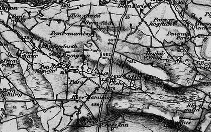 Old map of Afon Cledan in 1898