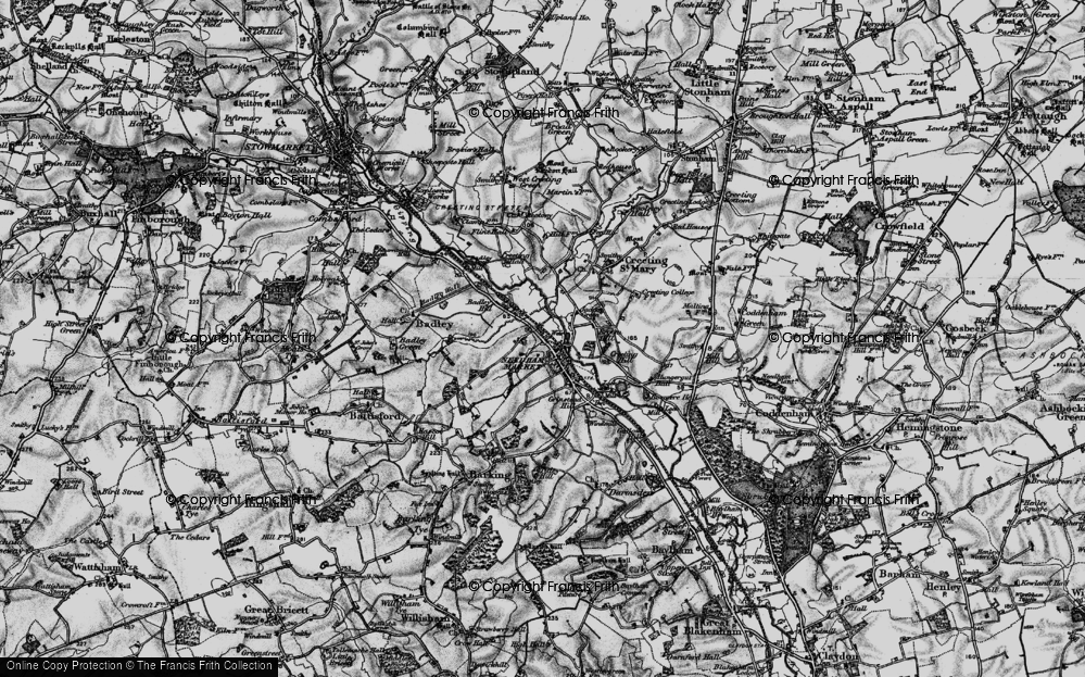 Old Map of Historic Map covering Badley Hill in 1898