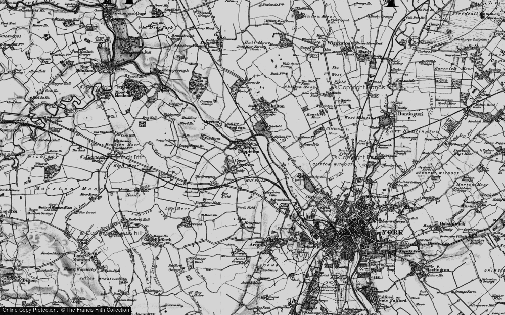 Old Map of Nether Poppleton, 1898 in 1898