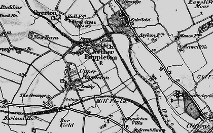 Old map of Nether Poppleton in 1898