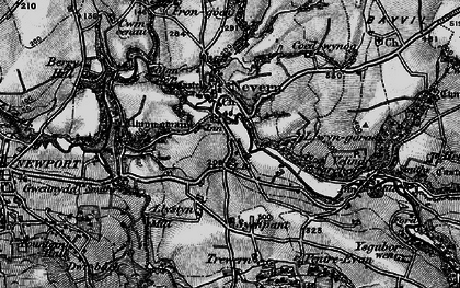 Old map of Nevern in 1898