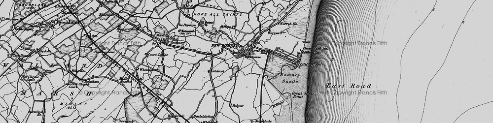Old map of New Romney in 1895