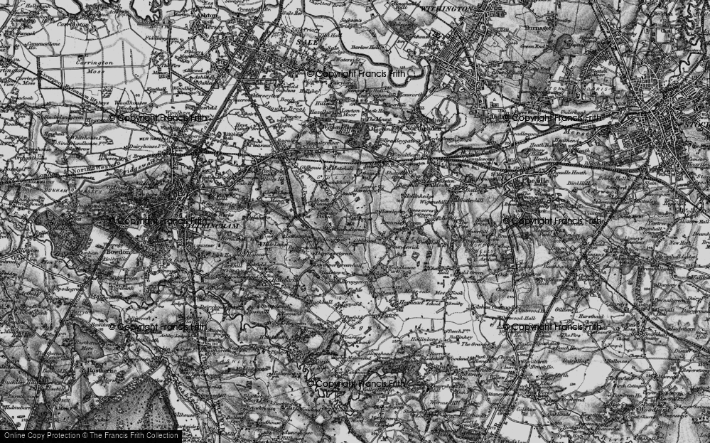 Old Map of Historic Map covering Baguley Hall in 1896