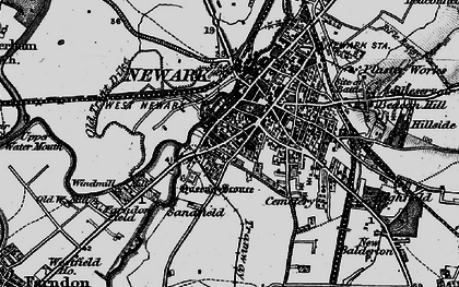 Old map of Newark-on-Trent in 1899
