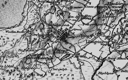 Old map of Newborough in 1899