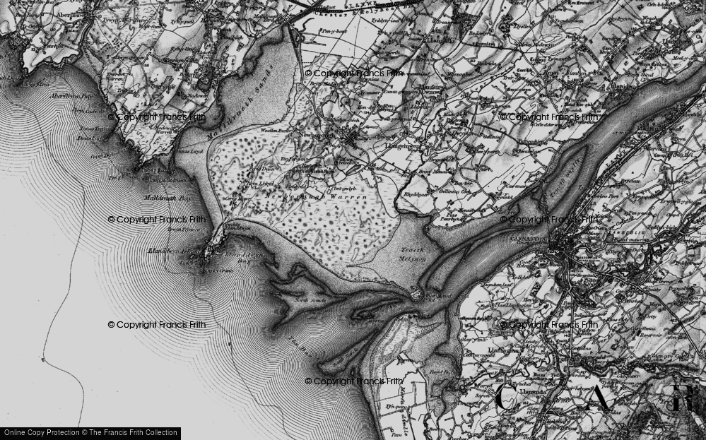 Old Map of Historic Map covering Abermenai Point in 1899