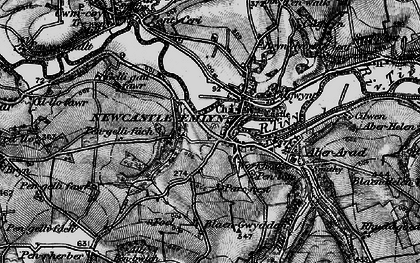 Old map of Newcastle Emlyn in 1898
