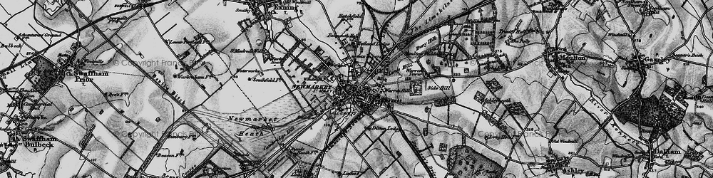Old map of Newmarket in 1898