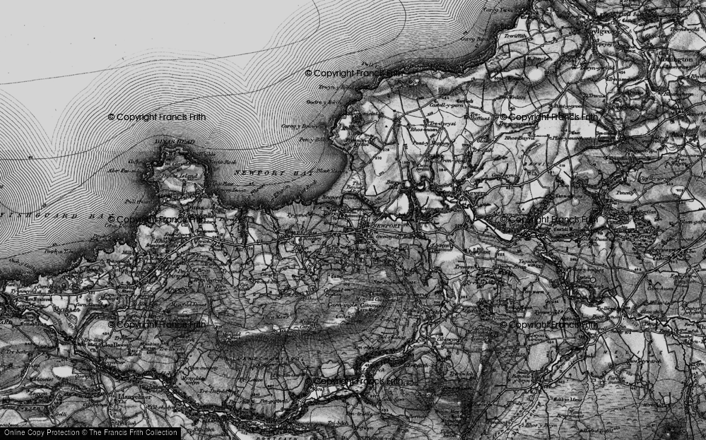 Old Map of Historic Map covering Afon Nyfer in 1898