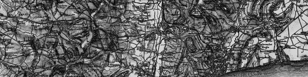 Old map of Newton Poppleford in 1898