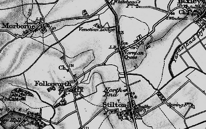 Old map of Norman Cross in 1898