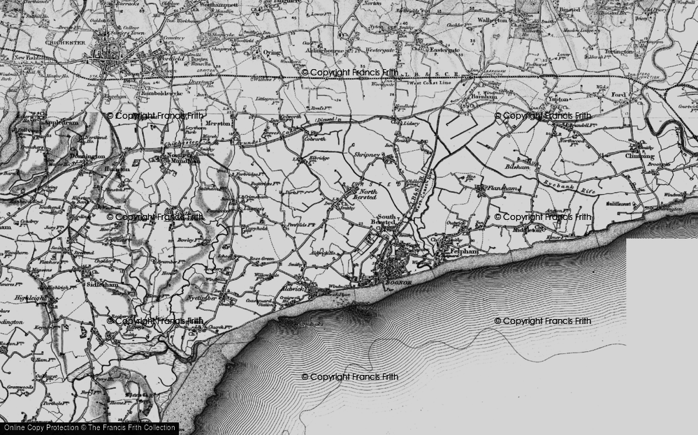 Old Map of Historic Map covering Aldingbourne Rife in 1895