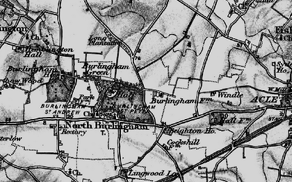 Old map of Acle Hall in 1898