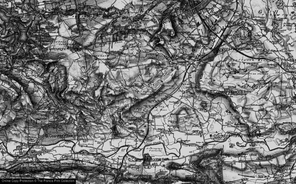 Old Map of Historic Map covering Almscliff Crag in 1898