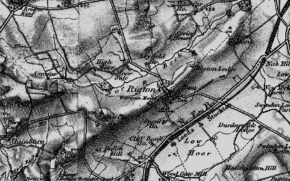 Old map of Almscliff Crag in 1898