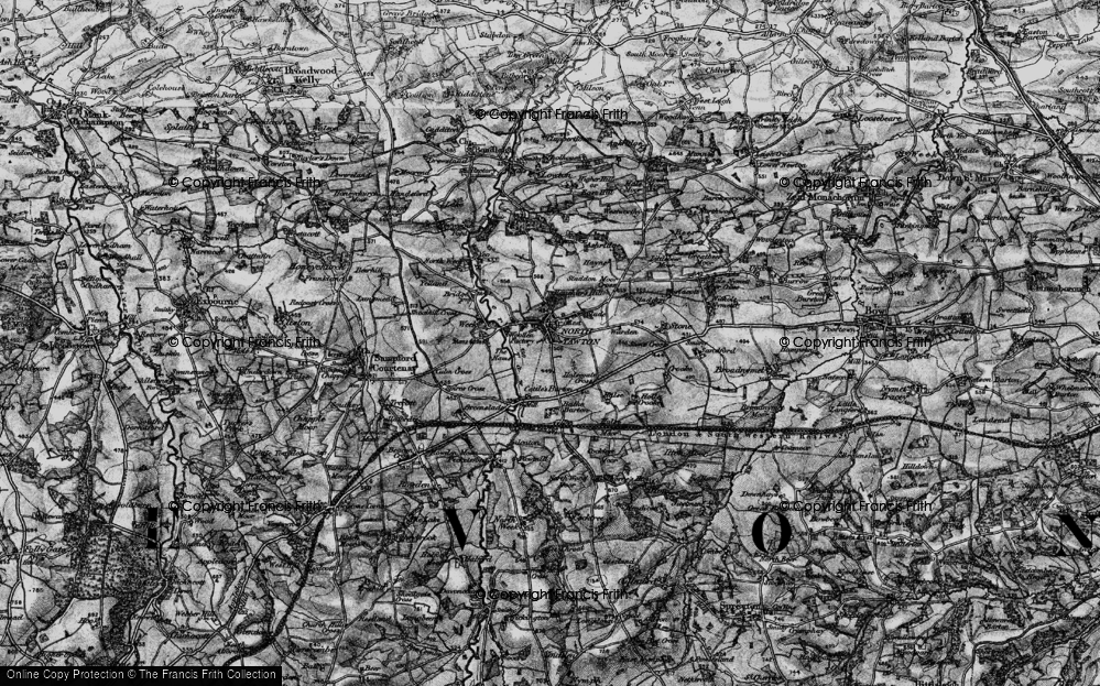 Old Map of Historic Map covering Yeo in 1898