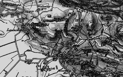 Old map of Launcherley Hill in 1898