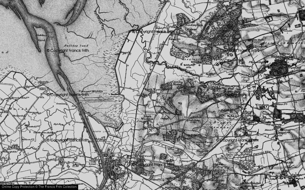 Old Map of Historic Map covering Ling Common in 1893