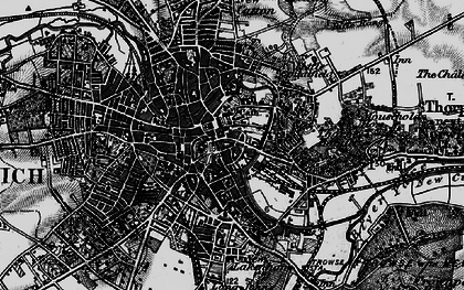 Old map of Norwich in 1898