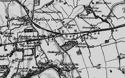 Old map of Durham Tees Valley Airport in 1898