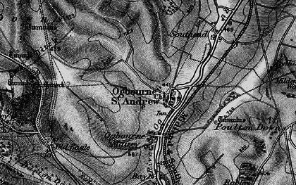 Old map of Ogbourne St Andrew in 1898