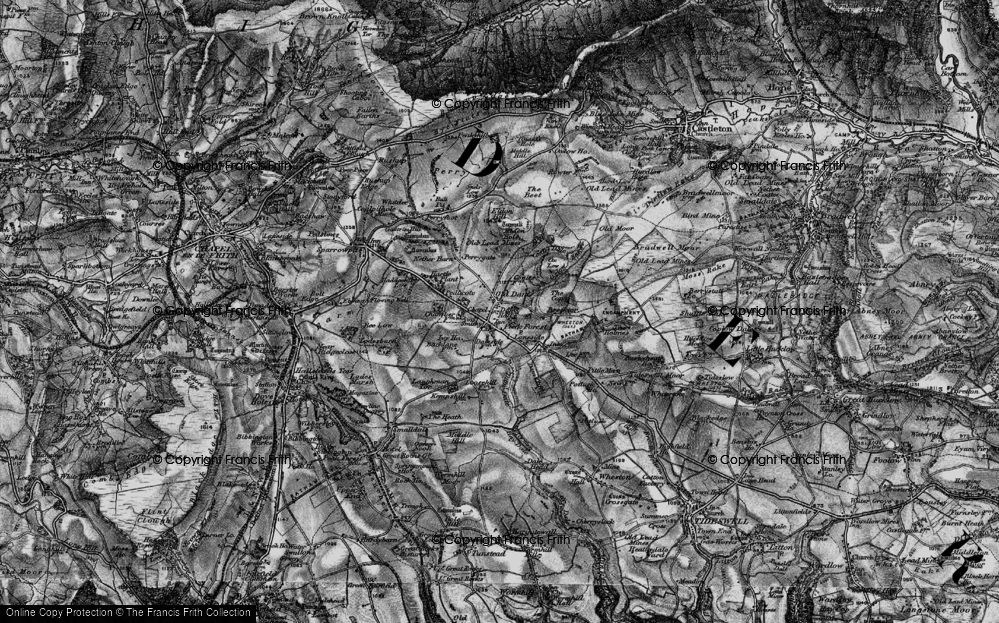 Old Map of Historic Map covering Laughman Tor in 1896