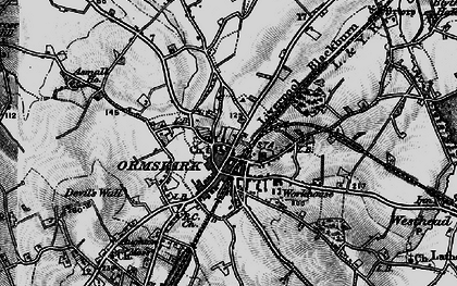 Old map of Ormskirk in 1896