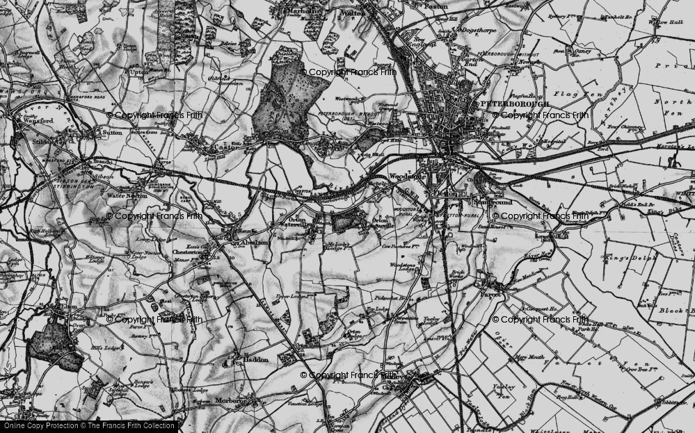 Old Map of Orton Longueville, 1898 in 1898