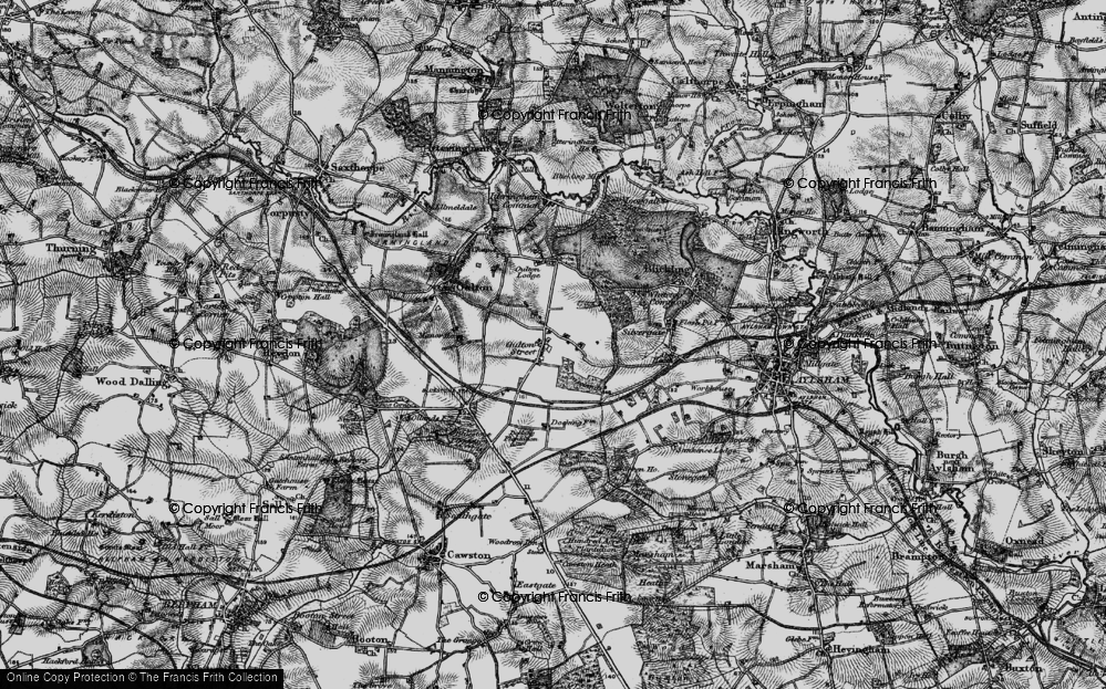 Old Map of Historic Map covering Leaselands, The in 1898