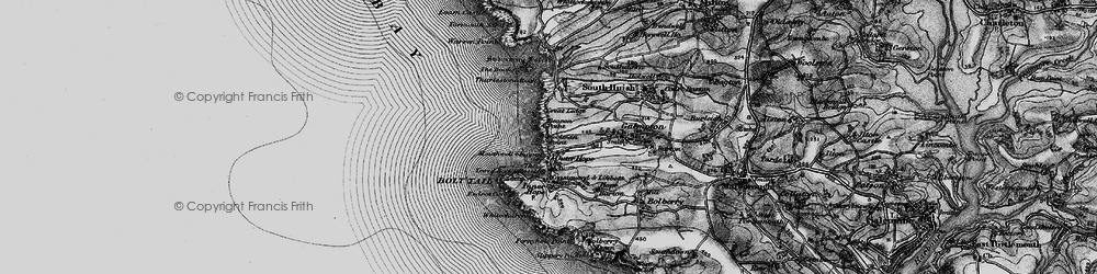 Old map of Thurlestone Rock in 1897