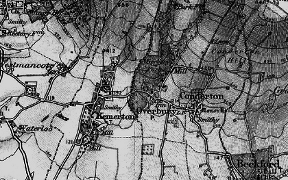 Old map of Overbury in 1898