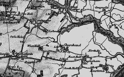 Old map of Paglesham Churchend in 1895