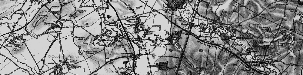 Old map of Whittlesford Parkway Sta in 1895