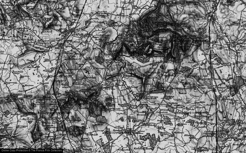 Old Map of Historic Map covering Besford Wood in 1899