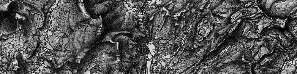 Old map of Pass of Aberglaslyn in 1899