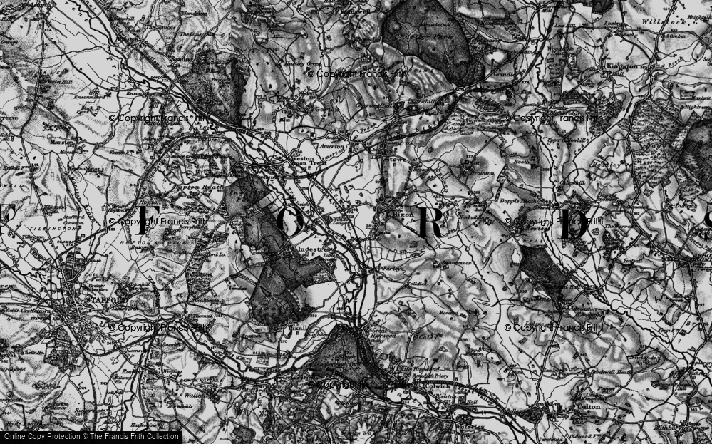 Old Map of Historic Map covering Abbots Bromley Cycle Way in 1898
