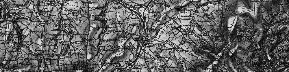 Old map of Afon Talog in 1898