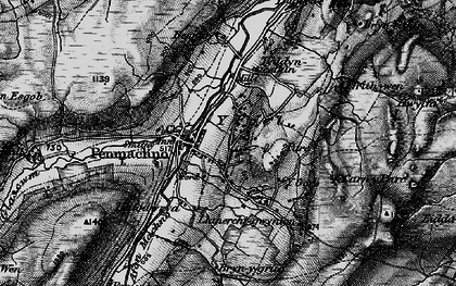 Old map of Afon Oernant in 1899