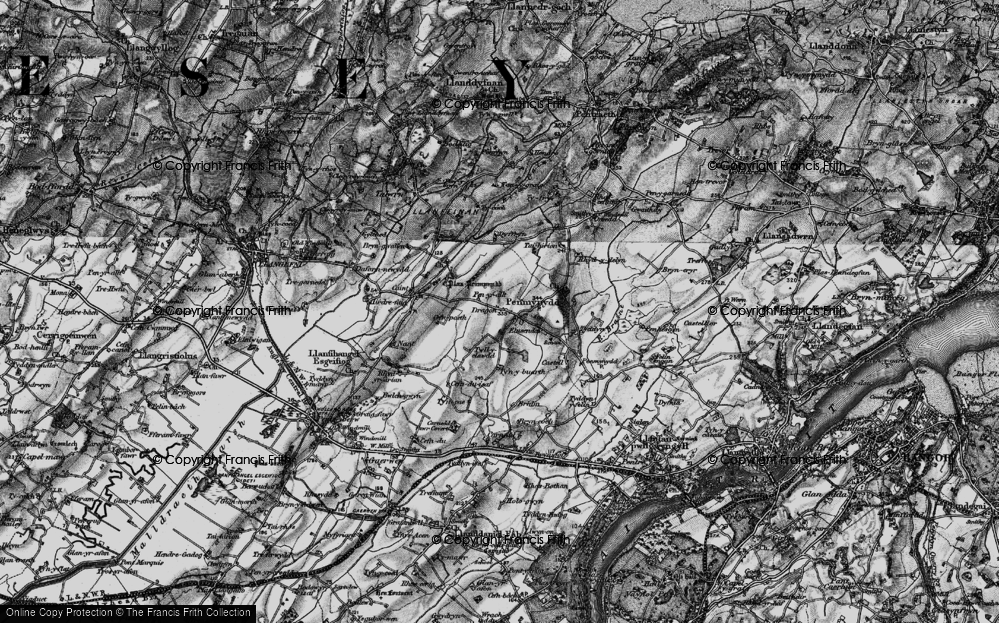 Old Map of Historic Map covering Afon Ceint in 1899