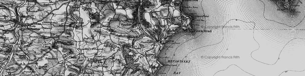 Old map of Pentewan in 1895