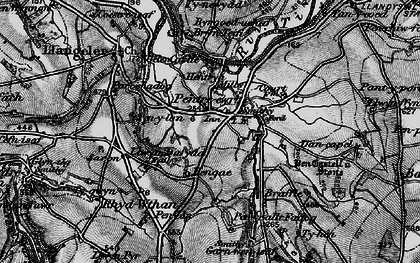 Old map of Pentre-cwrt in 1898