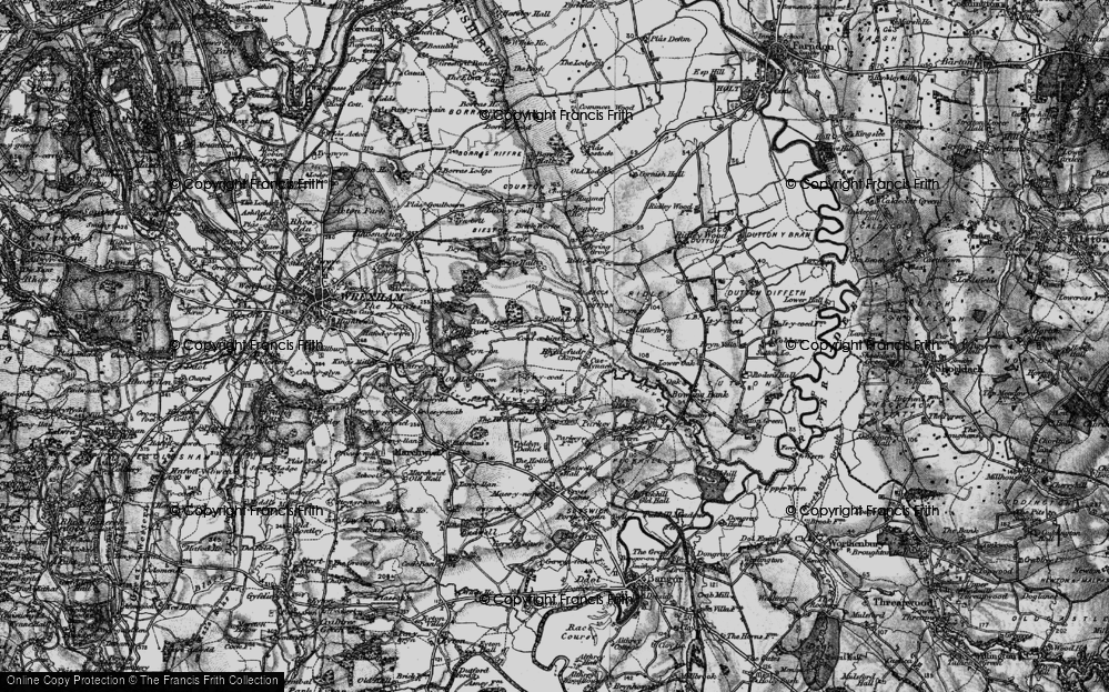 Old Map of Historic Map covering Wrexham Industrial Estate in 1897