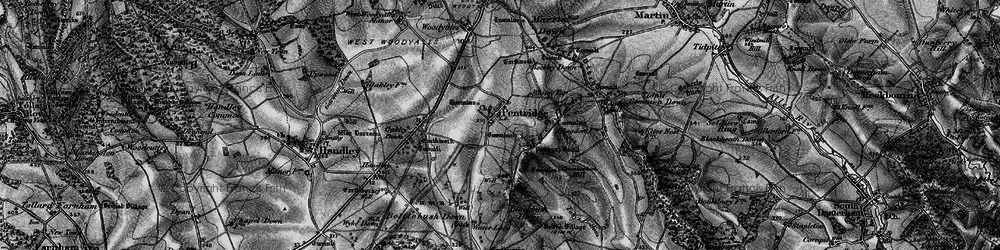Old map of Ackling Dyke (Roman Road) in 1895
