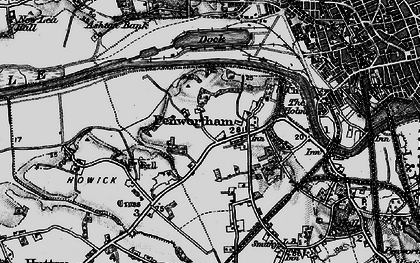 Old map of Penwortham in 1896