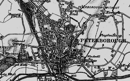 Old map of Peterborough in 1898
